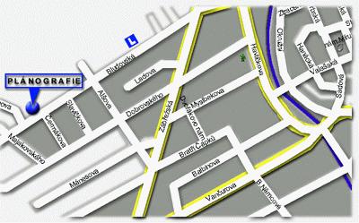 Výřez mapy města Šumperk s vyznačenou pozicí PLÁNOGRAFIE